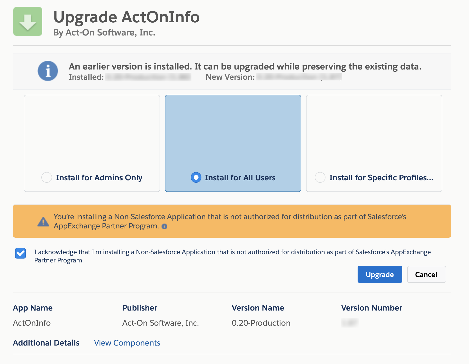 Screen Image of Upgrading ActOnInfo in Salesforce